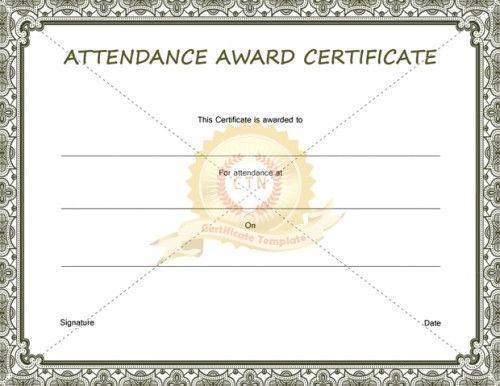 wwwcertificate-templatenet certificate-of-attendance - free perfect attendance certificate template