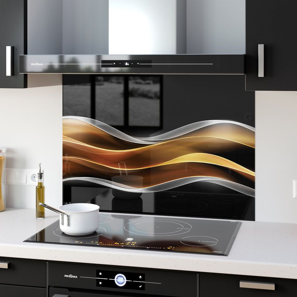 Details about ANY SIZE Kitchen Splashback Toughened Glass Golden Wave Abstract Art 87561806n #kitchensplashbacks