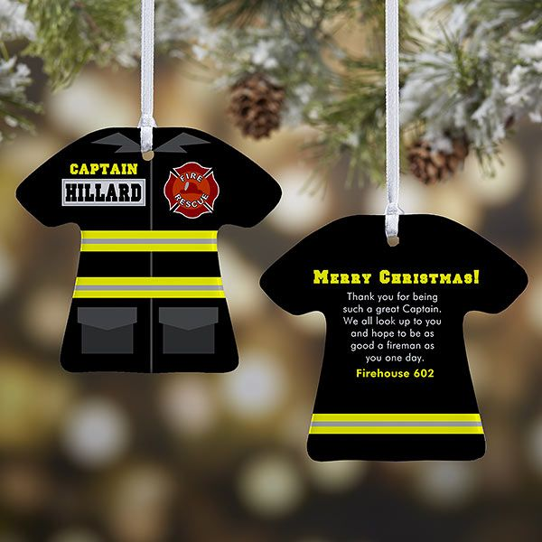 Personalized Christmas Ornaments Firefighter Uniform 2