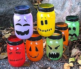 Nice Iu0027m Not A Big Halloween Decorator But These Are Cute. Halloween Painted Jar  Luminaries   Crafts By Amanda