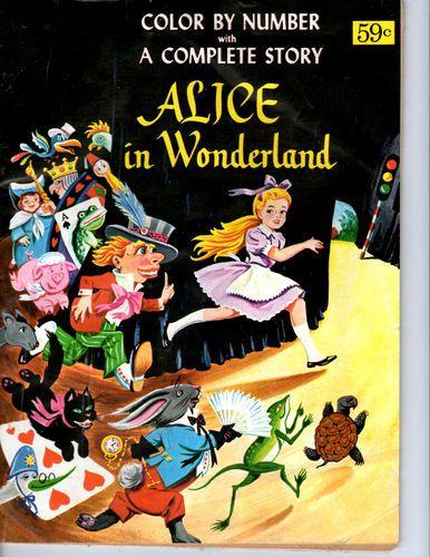 Alice in wonderland color by number vintage