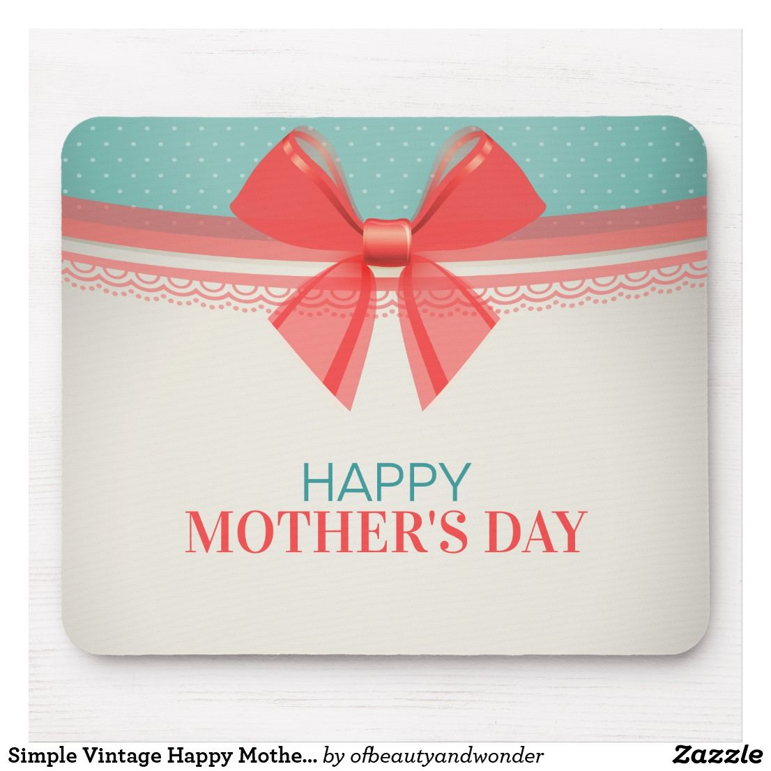 Simple Vintage Happy Mother's Day Mouse Pad Zazzle.com In 2020