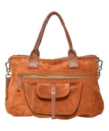 Loving this Tan Leather-Trim Gisele Whipstitch Suede Tote on #zulily! #zulilyfinds