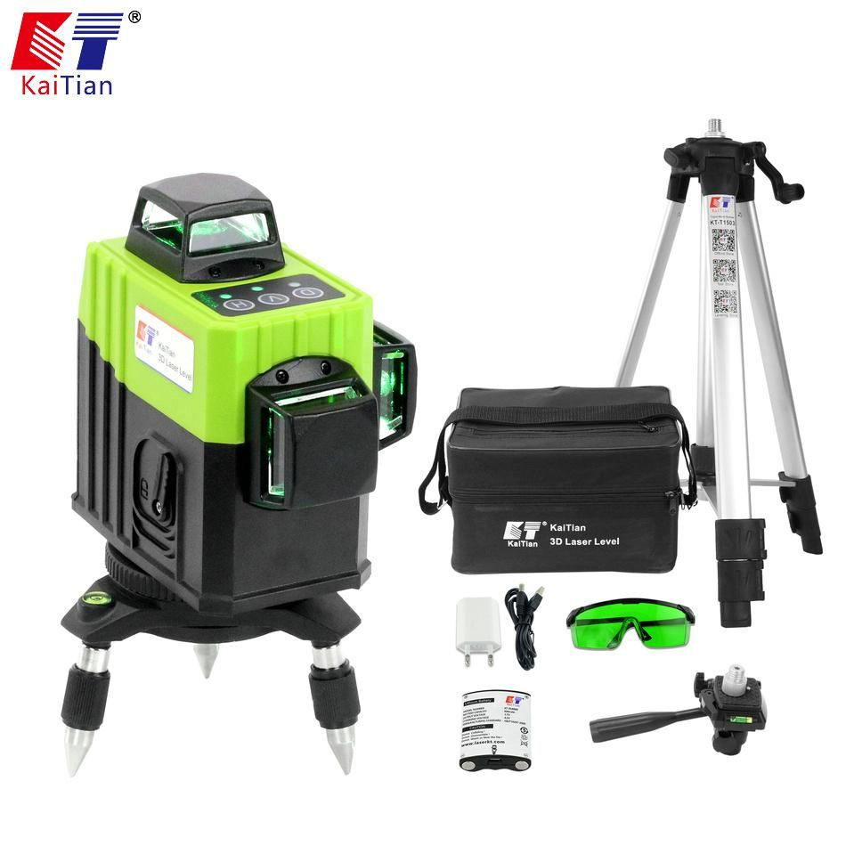 Kaitian Tripod For Laser Level 3d Green 12 Lines Niveau Laser Multipurpose 5 8 Bracket 360 Rotary Self Leveling Building Tools Construction Tools Laser Levels Cool Things To Buy