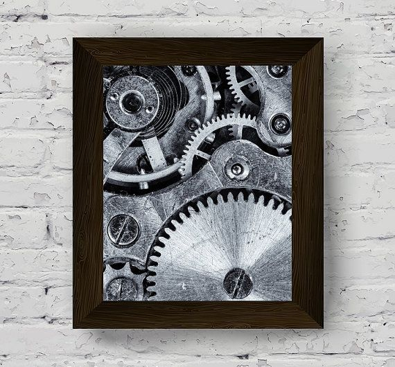 Industrial photography black and white prints urban wall art gear poster printable
