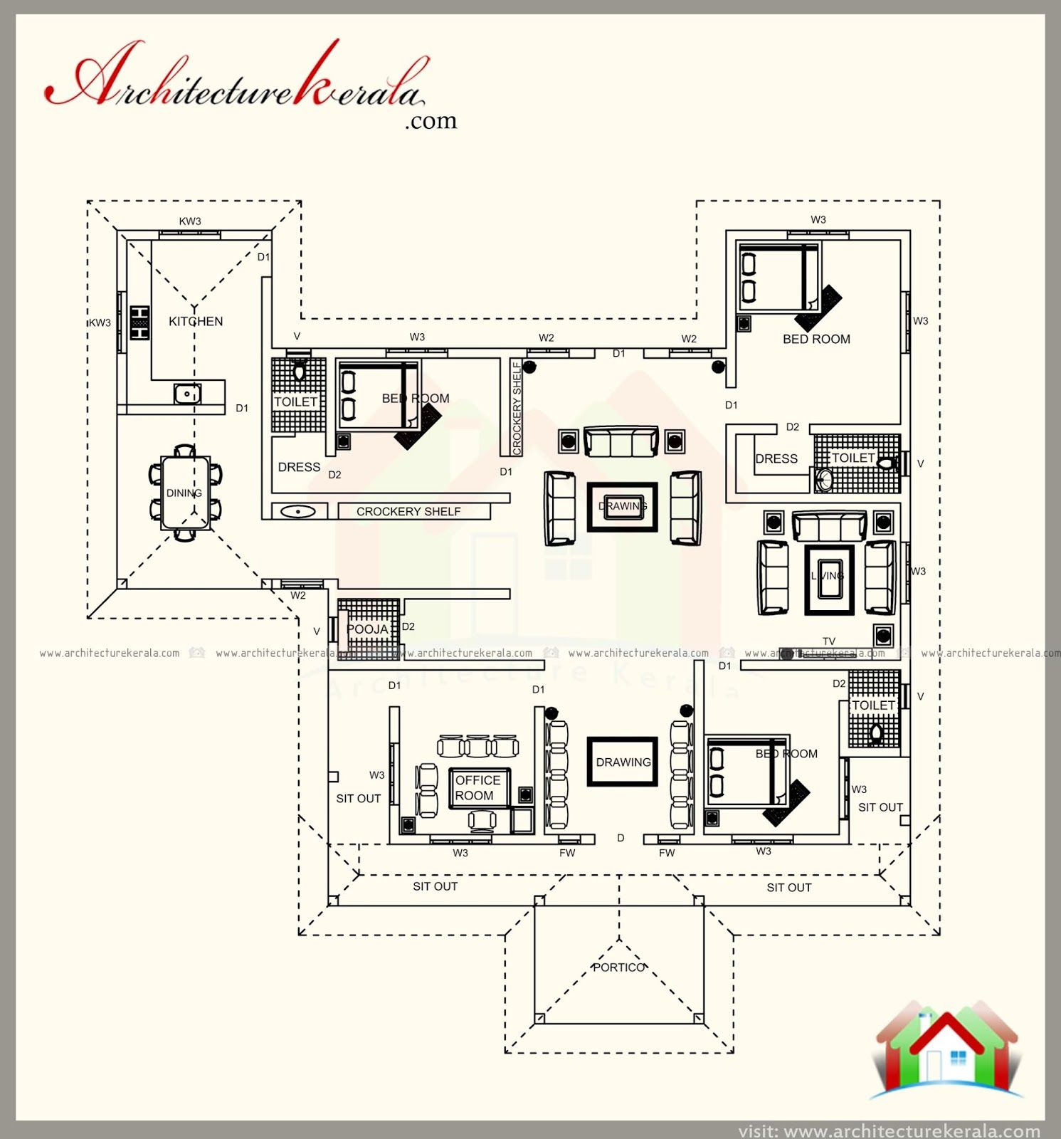 Kerala Style House Plan With Tree Bedrooms With Attached Bath One Office Room Separate Drawing Din Traditional House Plan House Plans Kerala House Design