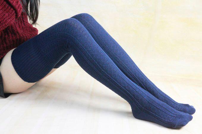 35% off Navy Blue Warm Winter Legwear Knit High Boot Socks Thigh High Knit Socks Knee Socks Thigh High Sock For Wo… | Thigh high socks, Thigh high knit socks, Socks