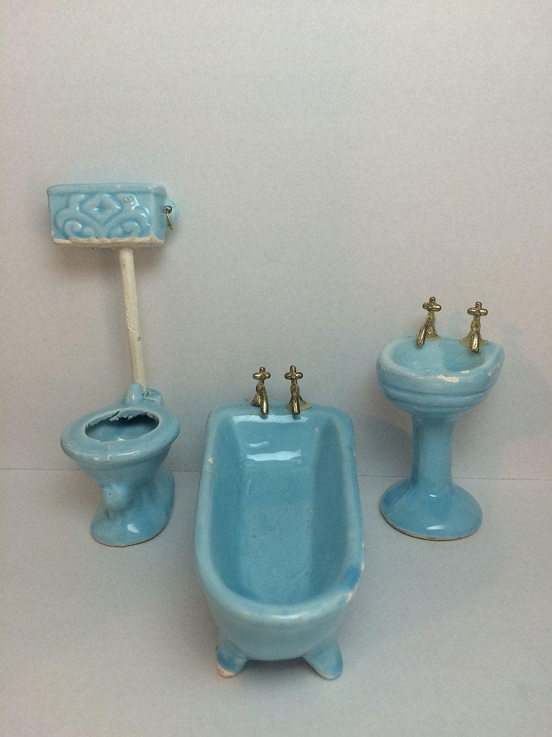 SOLDOUT. Vintage Porcelain #Dollhouse Bathtub Sink Toilet Aqua Blue ...