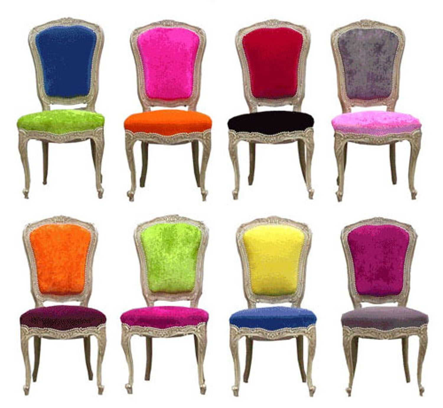 Funky Dining Room Chairs: Old Styles, New Fabrics: Funky Reupholstered Chairs