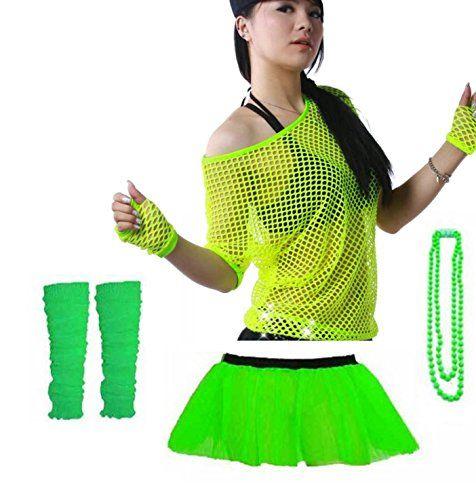 Classic Green 80s Neon Leg Warmers Madonna Disco Dance Fame