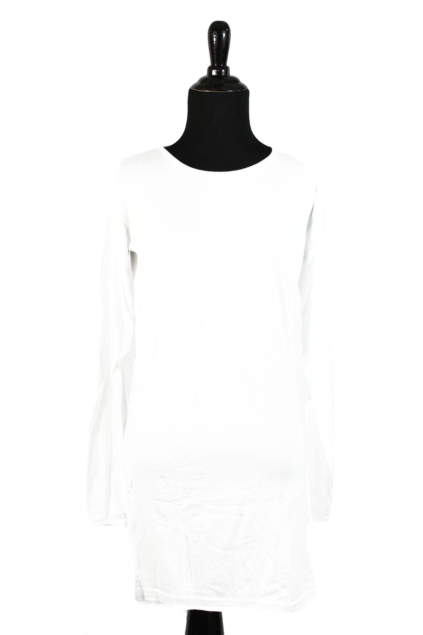 Extra Long Sleeve Basic Top - White