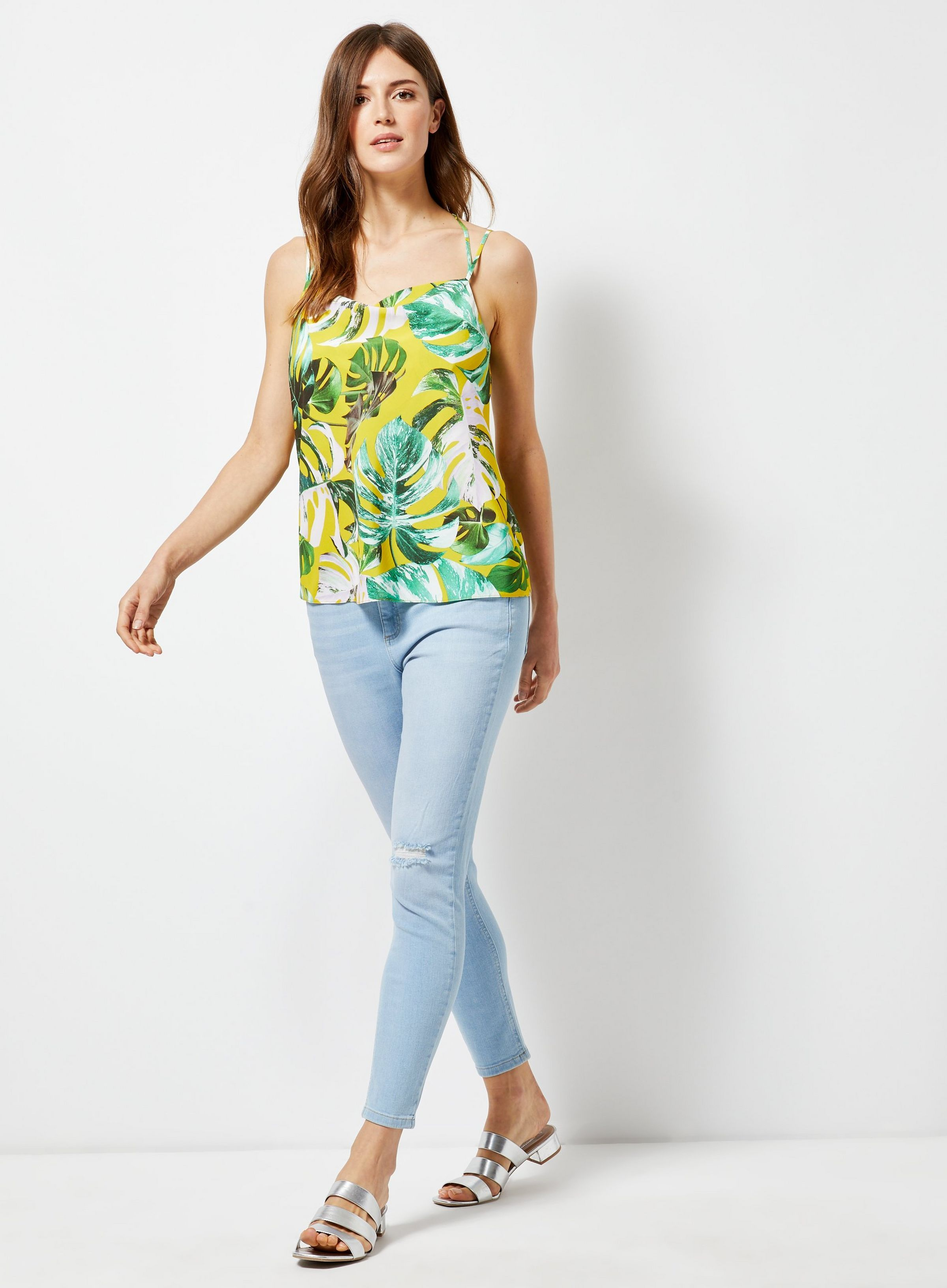 3ba85f82ef0fa Lime Tropical Print Cowl Neck Camisole Top in 2019 | JRC IN-STORE ...