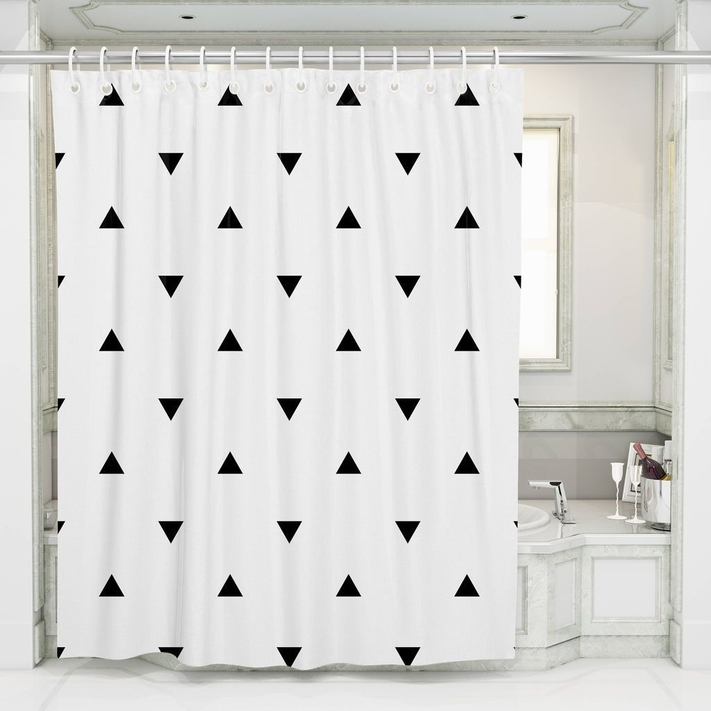 31 Amazing Black And White Shower Curtain For Your Bathroom Decor Homyhomee White Shower Geometric Shower Curtain Black White Shower Curtain Bathroom decor shower curtains