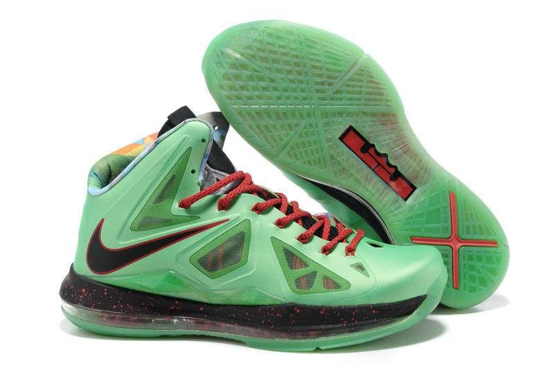 new arrival e71e9 d358b CHeap Lebron 10 X Jade Green Black Red Shoes