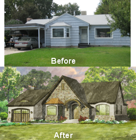 Turning a ranch with a carport into a charming tudor with a