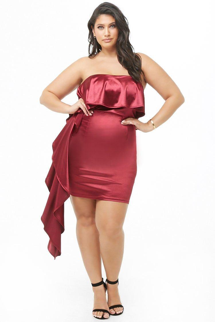 Plus Size Satin Tube Dress in 2019 | Dresses, Tube dress ...