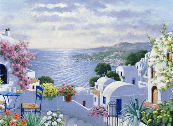 La Grece Tableaux Paysage Grece Paysage Peinture Tunisienne