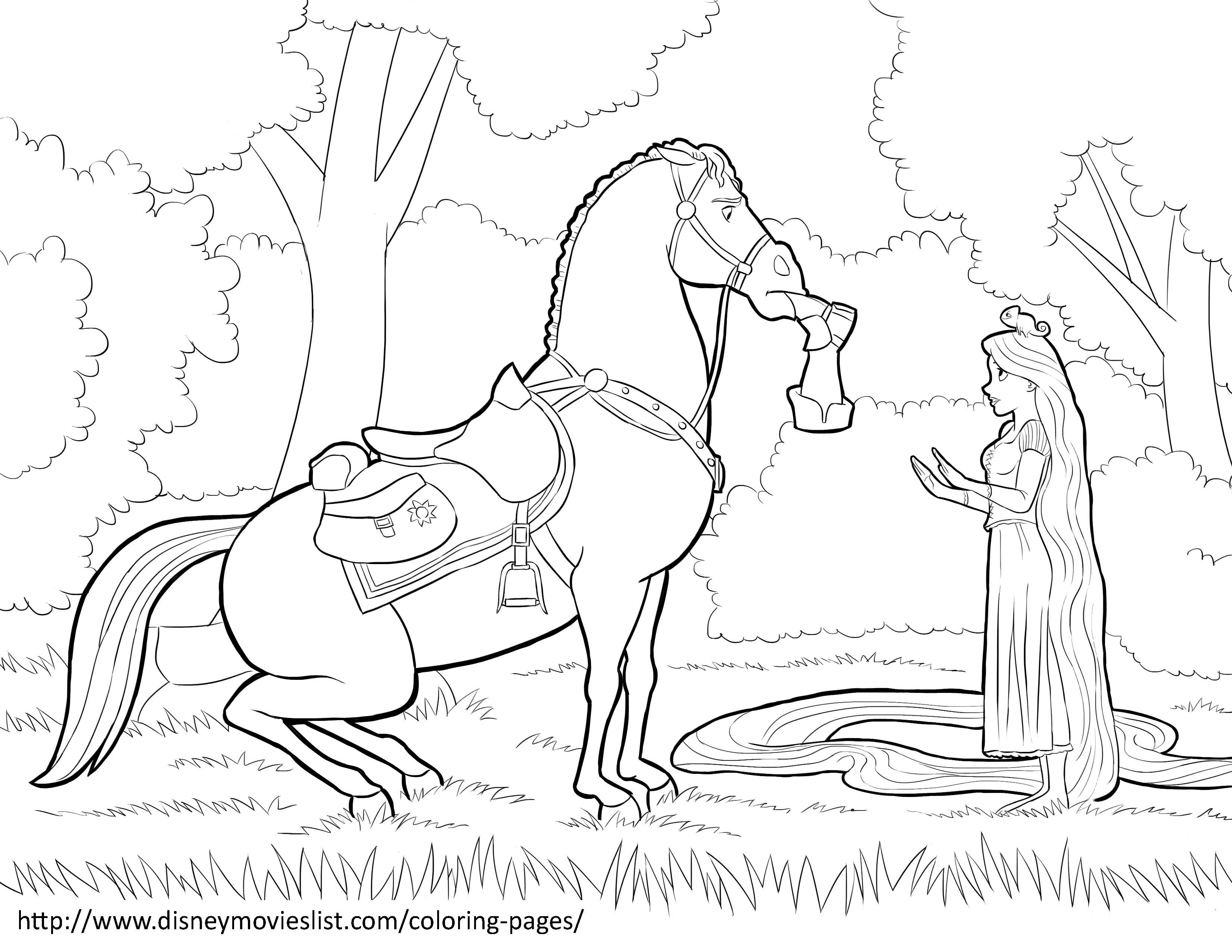Disney horse coloring pages - A Printable Disney Coloring Page Sheet Titled Rapunzel And Maximus