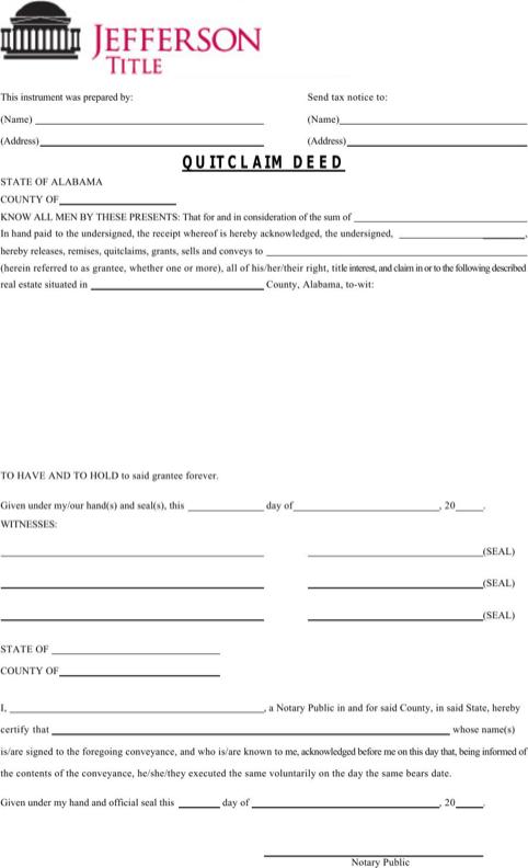 Alabama Quitclaim Deed Form   Templates&Forms   Quitclaim