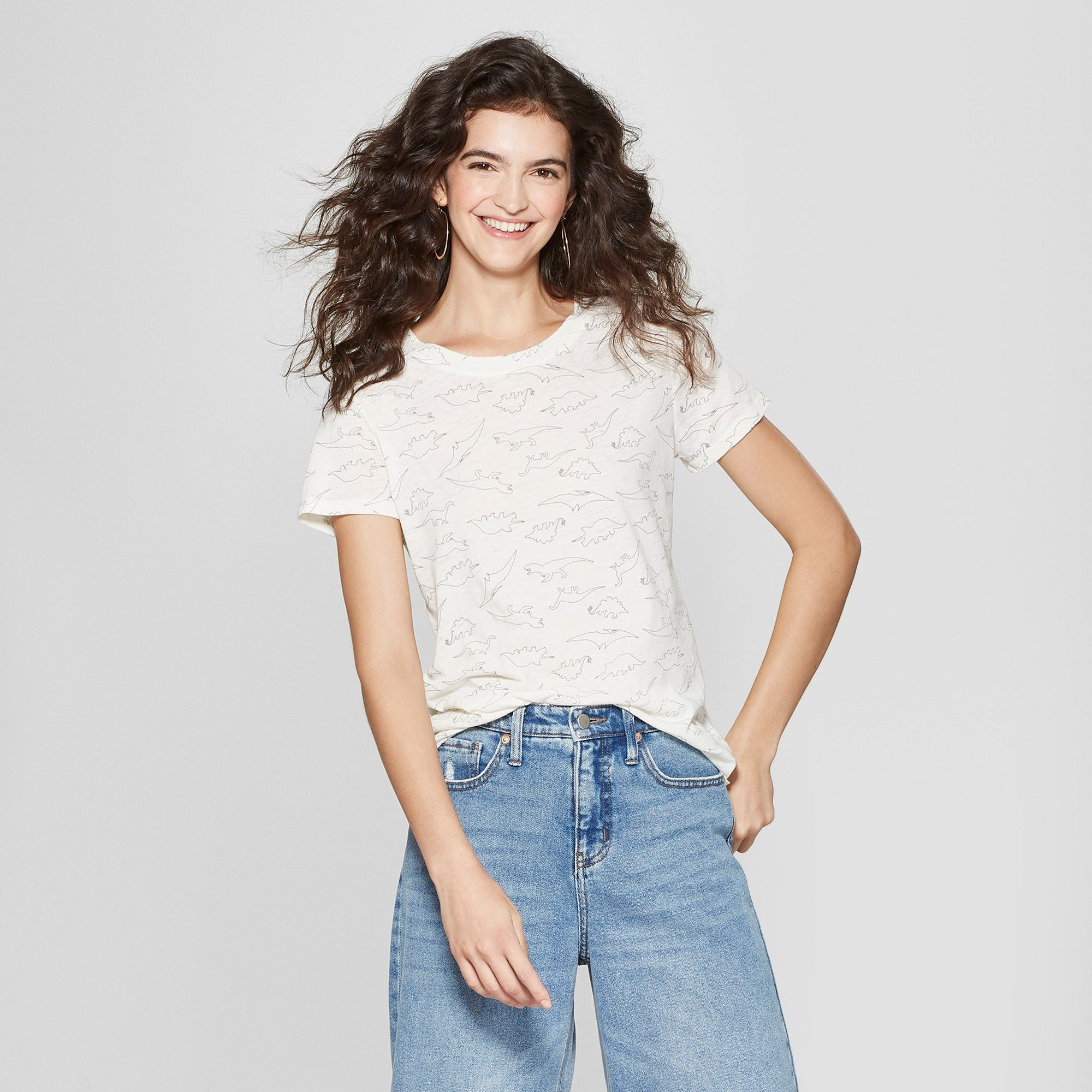 e5dda0e9 Women's Short Sleeve Dinosaur Outline Print T-Shirt - Zoe+Liv (Juniors')  Ivory Xxl, White