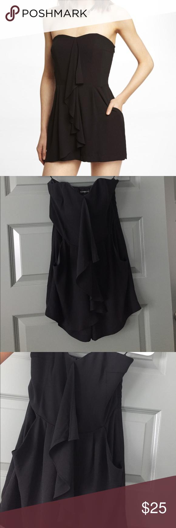 5713e881a98e Express - Black Ruffle Romper Flirty black romper wth side zipper and  pockets. Brand New