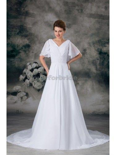 Chiffon V-Neck Chapel Train A-line Half-Sleeves Wedding Dress