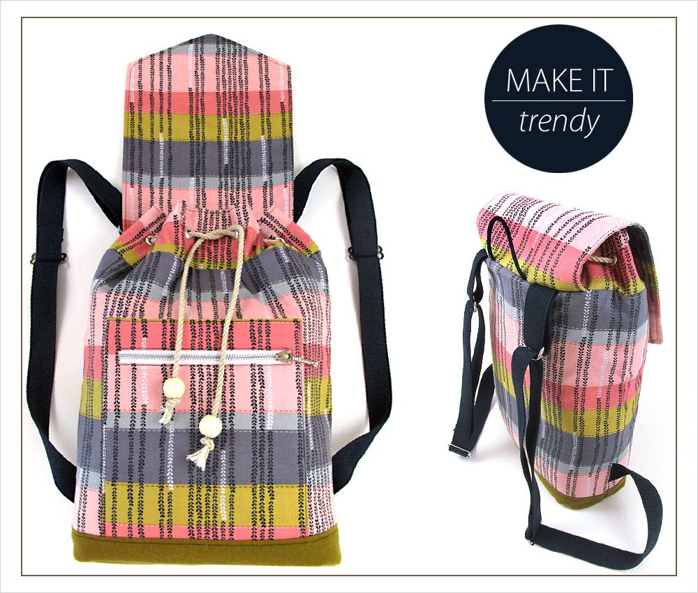 Tutorial with many Pictures - easy to sew - Trendy Drawcord Backpack ...