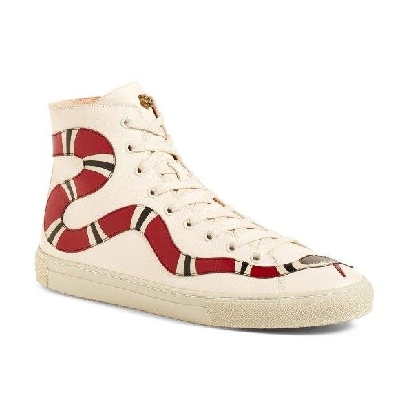 3fd4cbdb9 Women's Gucci Major Snake High Top Sneaker (14.700 ARS) ❤ liked on Polyvore  featuring shoes, sneakers, white, white shoes, white high top shoes, gucci  ...