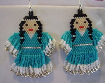 Native American White Wolf Beaded Earring by BeadedCreationsetc