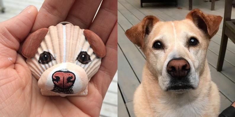 Medium Seashell Custom Pet Portrait Ornament Christmas Etsy In 2020 Dog Ornaments Custom Pet Portraits Seashell Crafts
