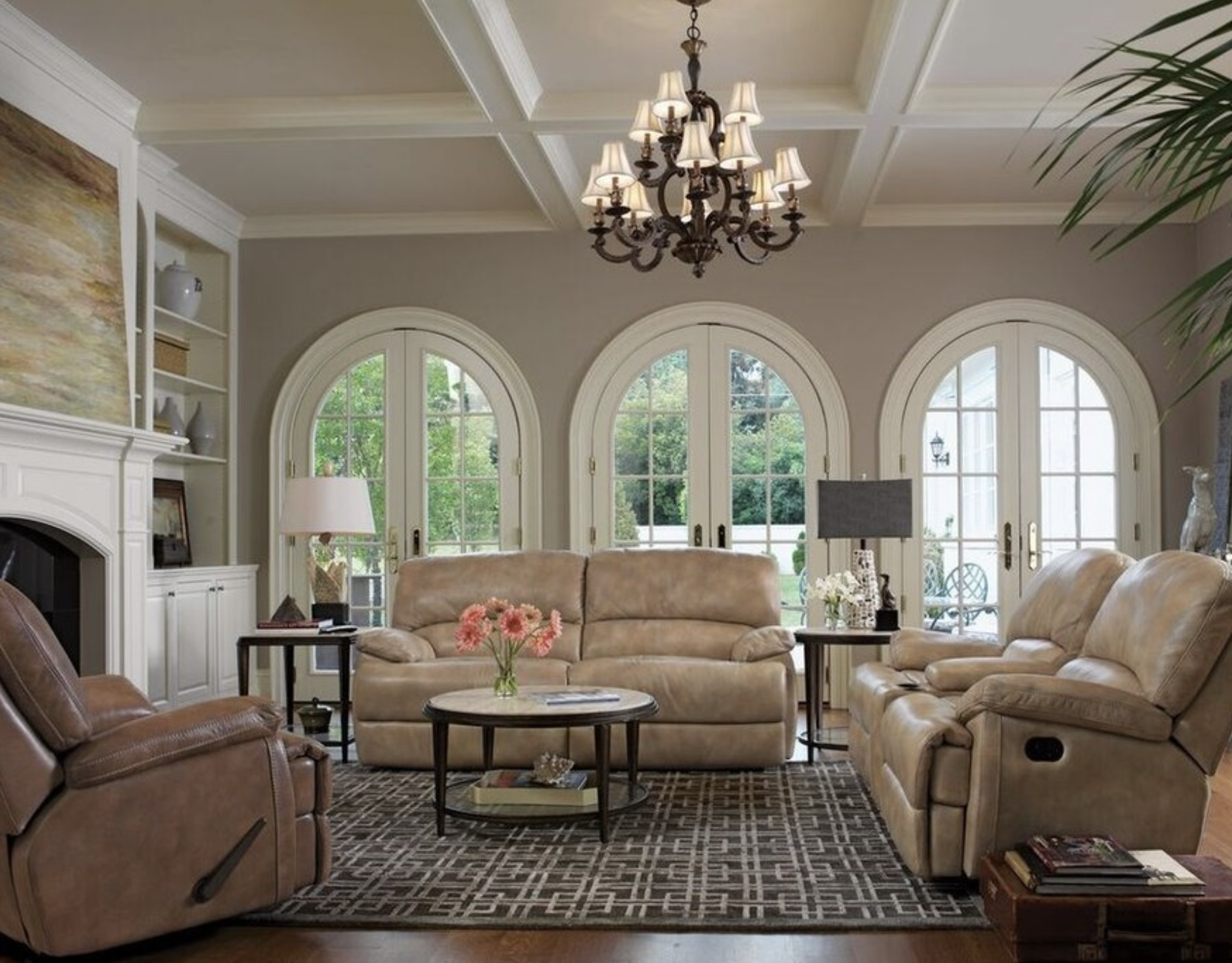 For a chic living room combine pale neutrals with vintage