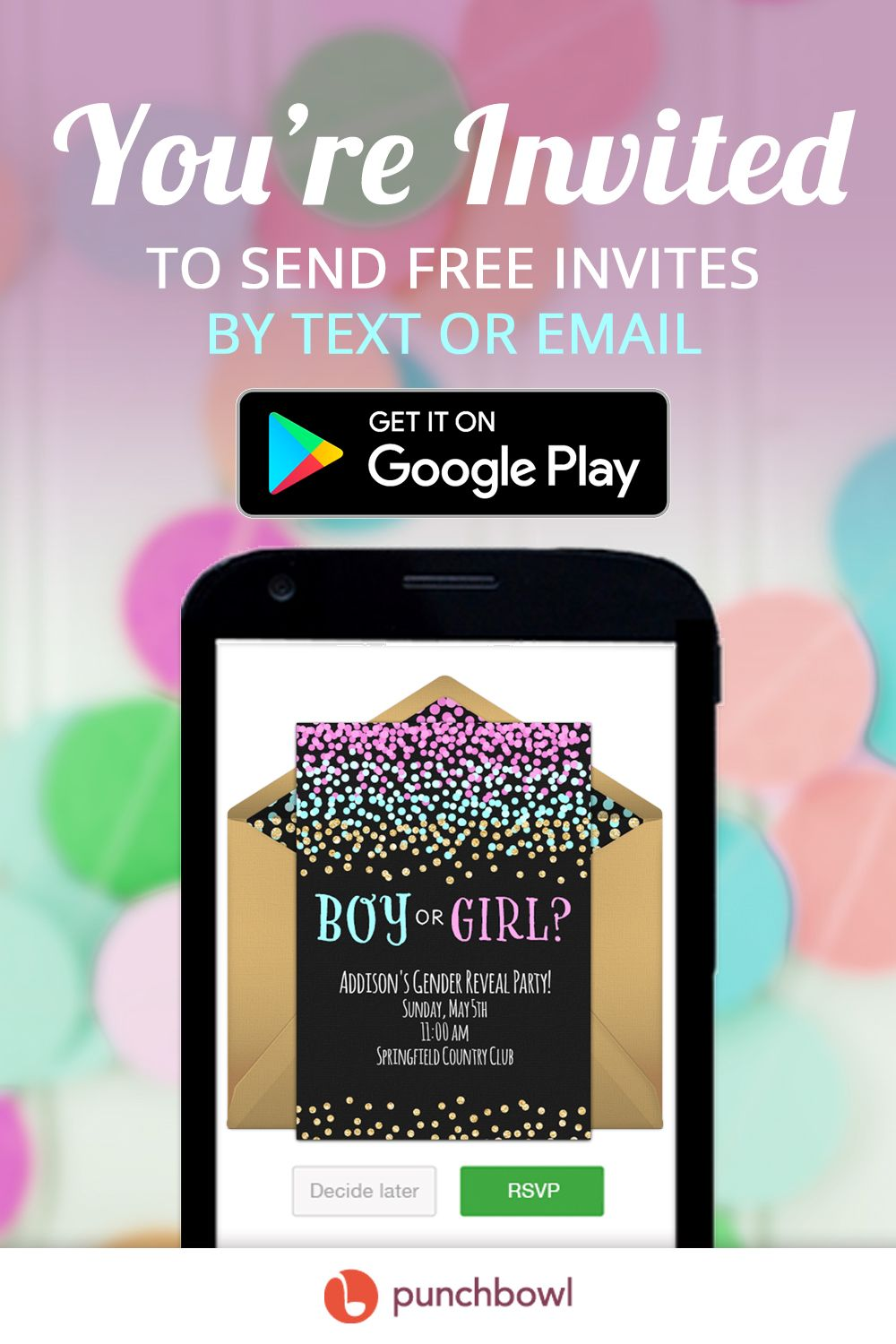 Send free Gender Reveal invitations by text message right