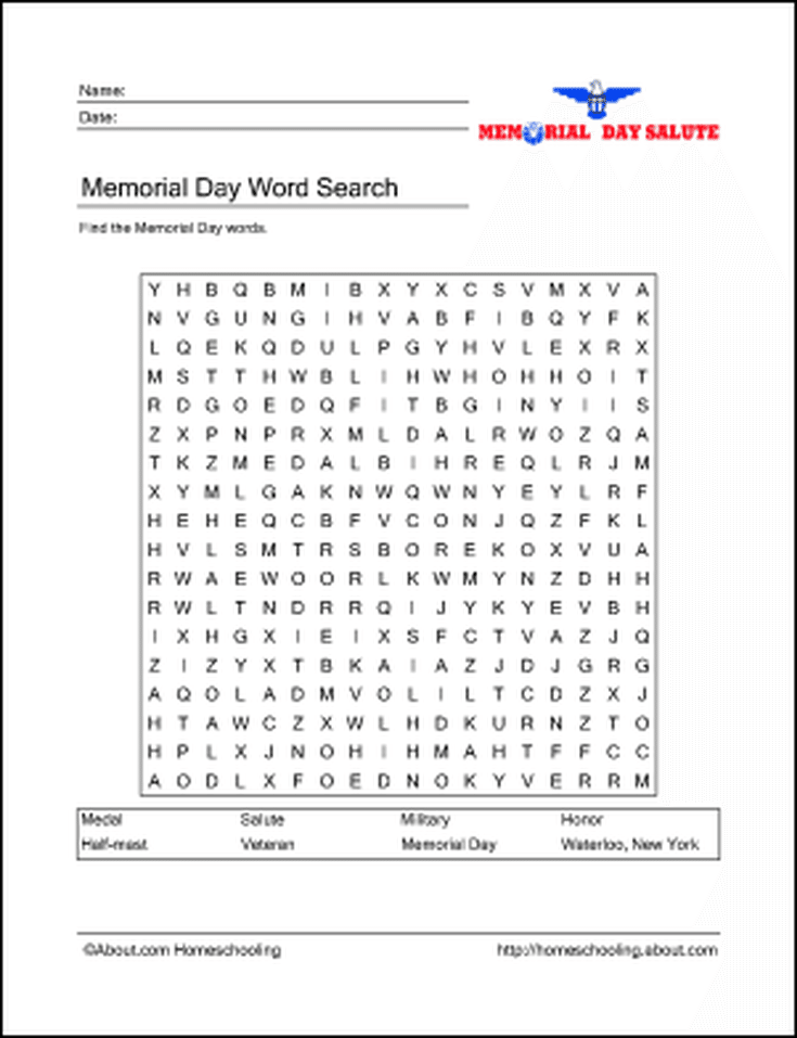 photo relating to Memorial Day Word Search Printable titled Study concerning Memorial Working day with Free of charge Printables! Phrase Look