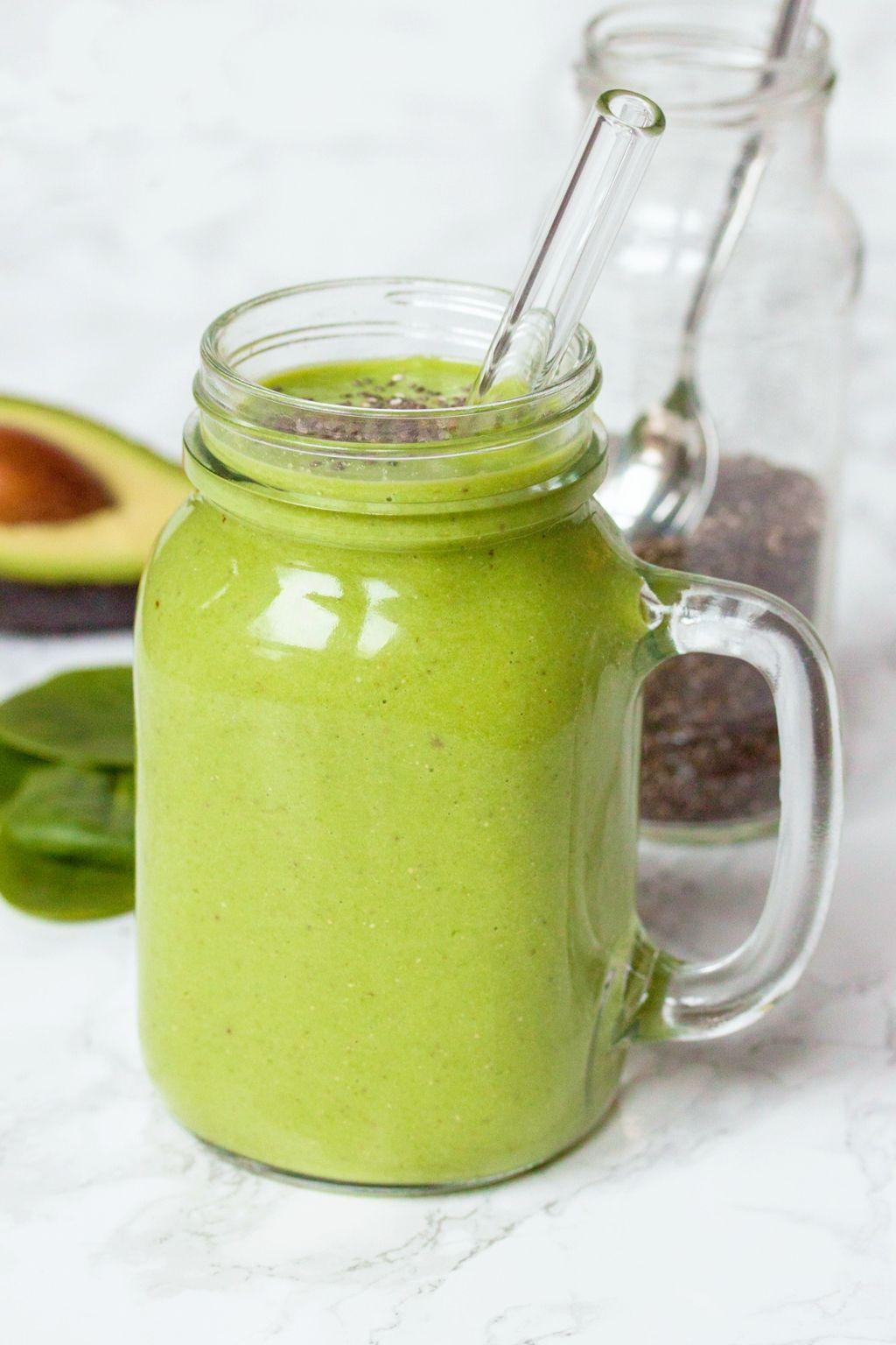 Green Avocado Smoothie With Chia Seeds Recipe Chia Seed Smoothie Avocado Smoothie Easy Green Smoothie