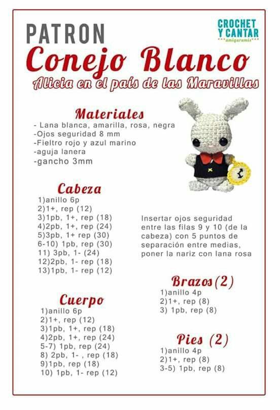 Conejo Blanco patrón amigurumis | Crochet Free | Pinterest ...