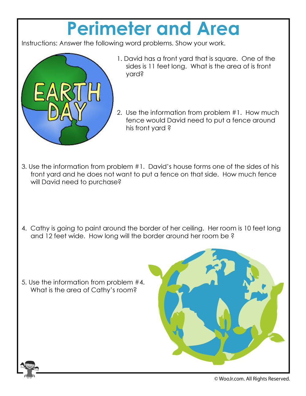 Area and Perimeter Word Problem Worksheets for Earth Day   Woo! Jr. Kids  Activities   Word problems [ 1294 x 1000 Pixel ]