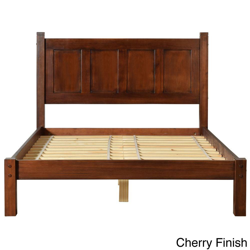 Grain Wood Furniture Shaker Wood Panel Queen Platform Bed (Cherry ...