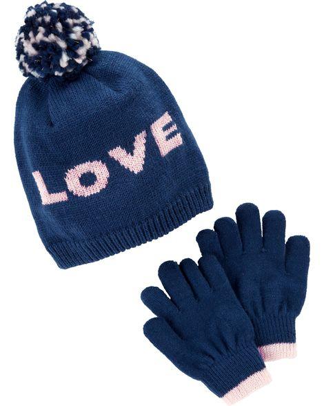 89cb0415177 Pom Pom Hat   Glove Set