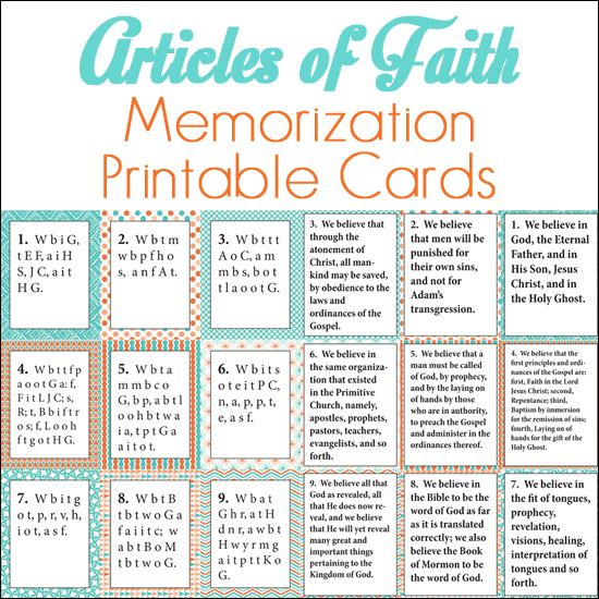 graphic about Lds Articles of Faith Printable named Post of Religion Memorization Printable Playing cards church