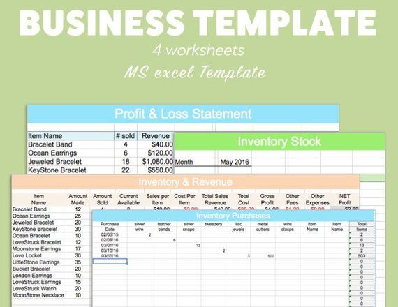 BUSINESS EXCEL Template Profit Loss Inventory Expense Revenue MS Microsoft Spreadsheet Organizer Pla