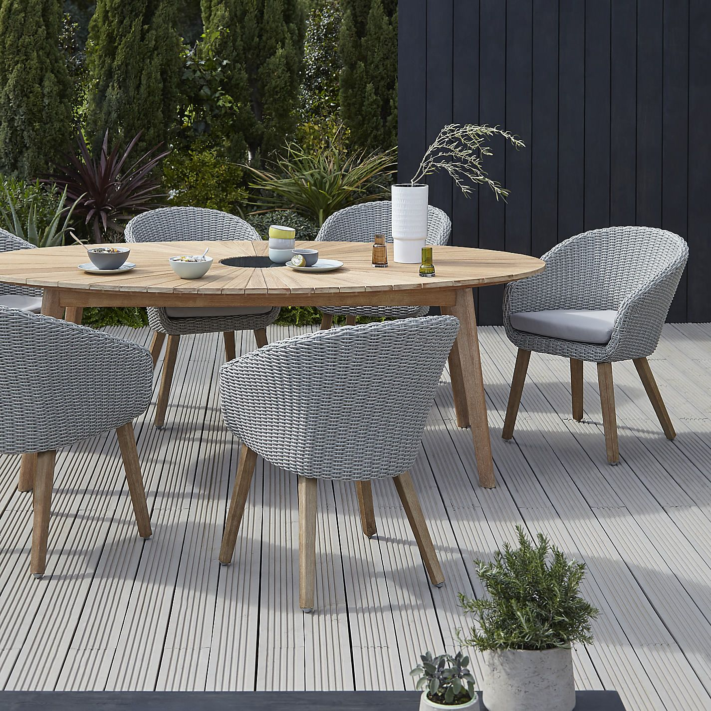 Buy john lewis sol 6 seater oval dining table chairs set fsc certified eucalyptus natural from our garden furniture sets range at john lewis