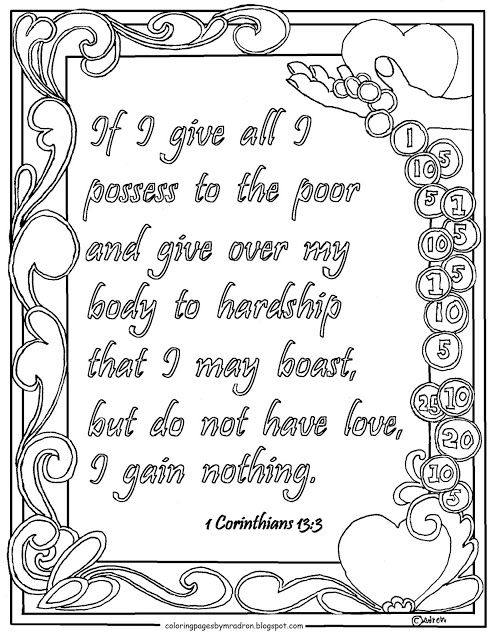 Coloring Pages for Kids by Mr. Adron: 1 Corinthians 13:3