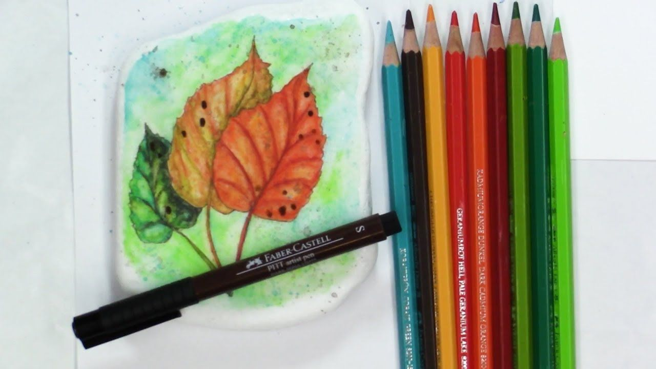 Watercolor Pencil On Rocks How To Paint Autumn Leaves Youtube