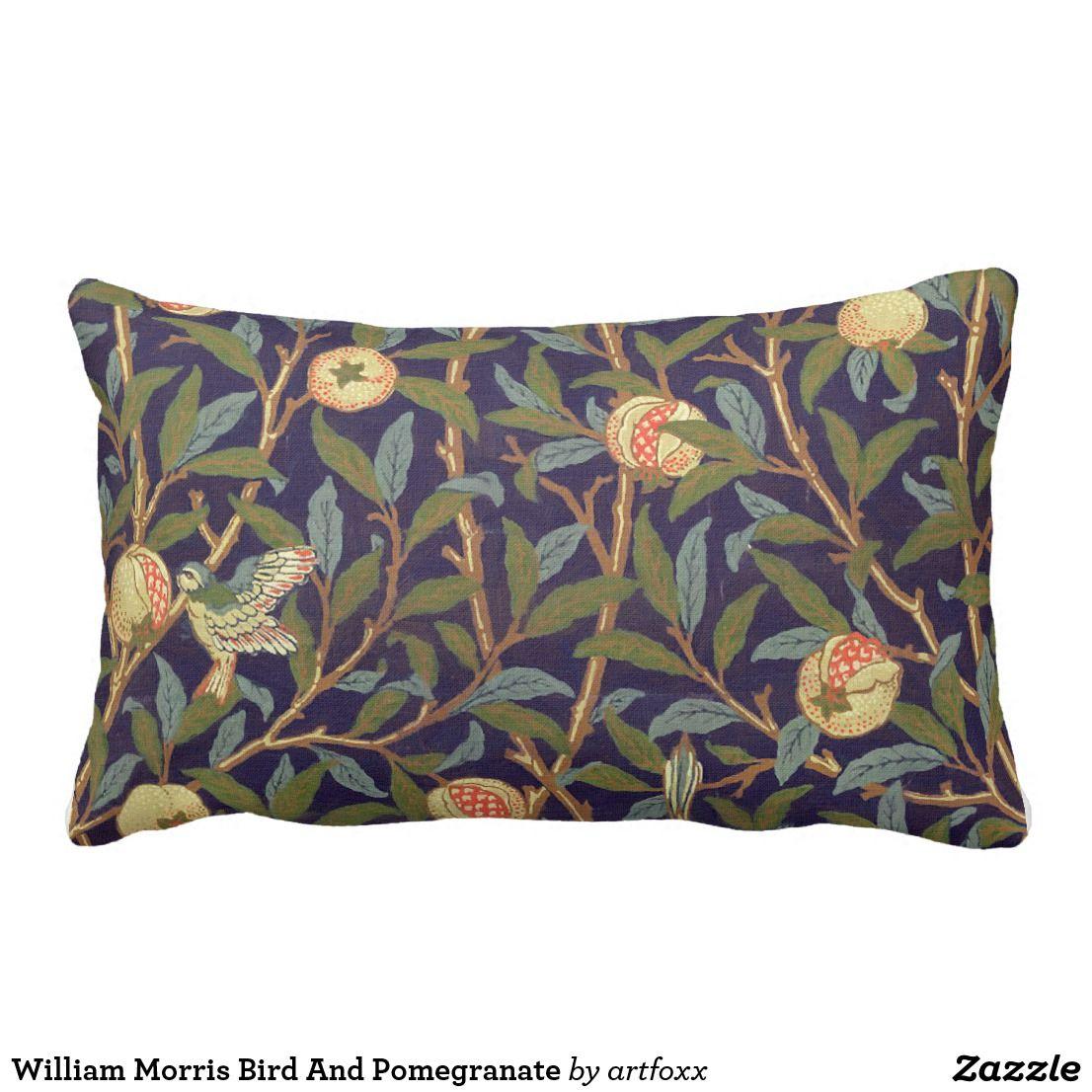 William Morris Bird And Pomegranate Lumbar Pillow Zazzle Com Floral Throw Pillows Floral Pillowcase Throw Pillows