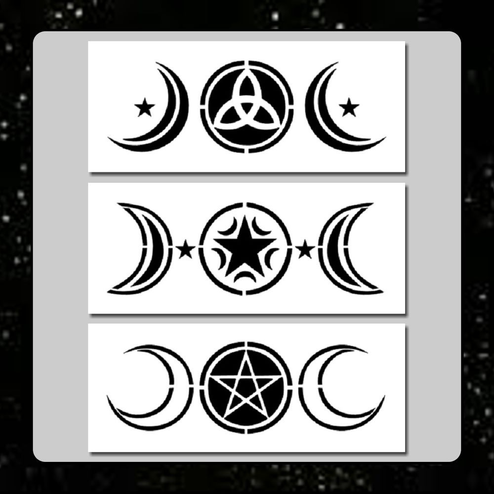 Set 3 Triple Moon Stencils 3 X 7 Each Wiccan Pentagram Stars Goddess
