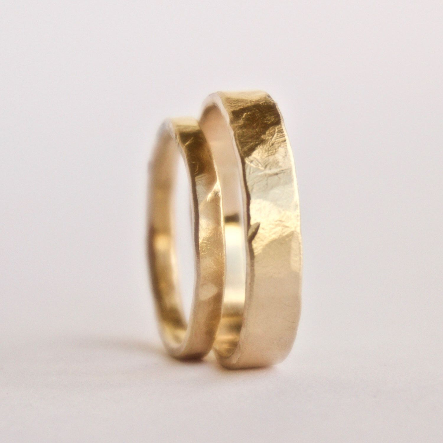 Wedding Ring Set Two Hammered Gold Rings Rustic Textured 18 Carat