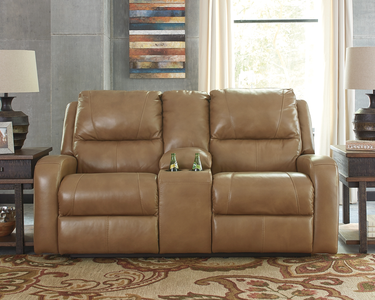 Strange Roogan Reclining Loveseat With Console Blondie Leather Gmtry Best Dining Table And Chair Ideas Images Gmtryco