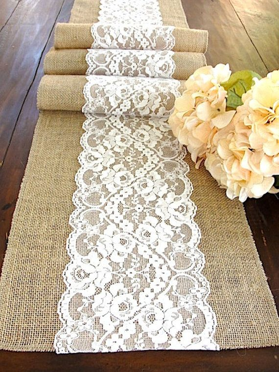 Beau Burlap Table Runner Wedding Runner Antique By HotCocoaDesign