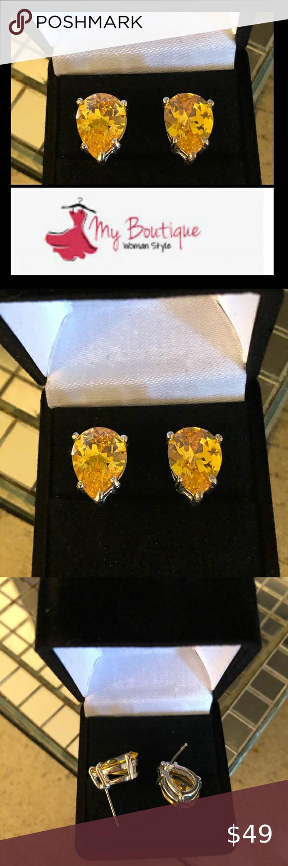 925 Top Quality Canary CZ Pear Shaped Earrings Gorgeous canary color AAAAA top quality CZ pear shap