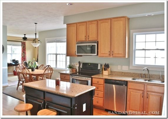 Comfort Gray Kitchen Sand And Sisal Grey Kitchen Walls Kitchen Wall Colors Honey Oak Cabinets